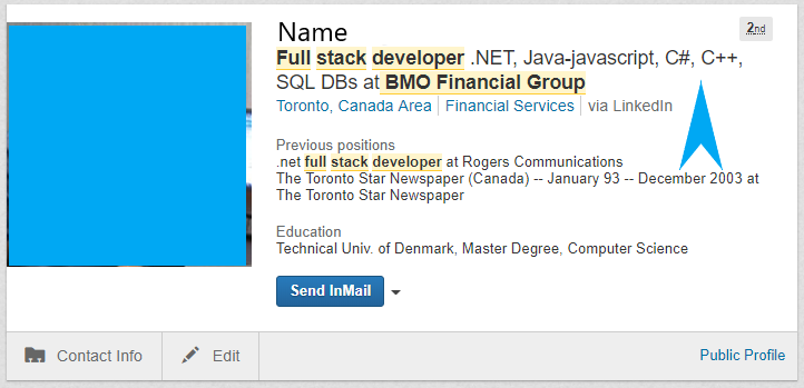 LinkedIn profile Heading example